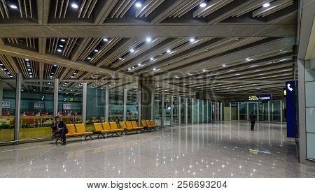 Beijing, China - Feb 28, 2018. Interior Of Beijing Capital International Airport (pek). It Has Been