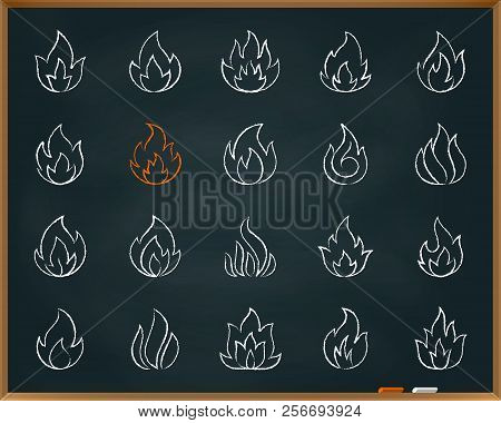 Fire Chalk Icons Set. Outline Web Sign Kit Of Bonfire. Flame Linear Icon Collection Fireball, Ignite
