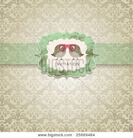 Cute wedding invitation card with vintage ornament background.