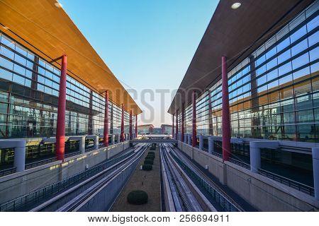 Beijing, China - Feb 28, 2018. View Of Beijing Capital International Airport (pek). It Has Been The