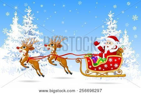 Santa Claus And Deer In The Winter Forest On The Eve Of Christmas.