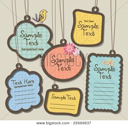 hanging tags, scrapbook elements, text box