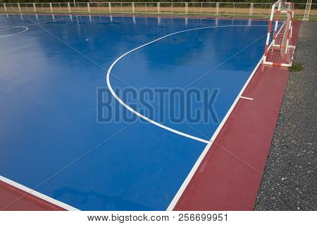 Empty Futsal Court. Futsal Court For Exercise In The Community.