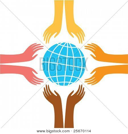 sign of peace - the hands of representatives of different peoples of the world reach for the image of the Earth