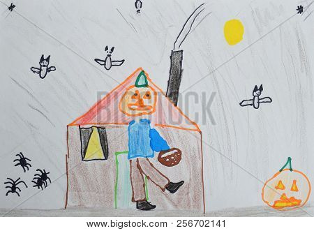Children's Drawing: Boy In A Pumpkin Costume And Basket In His Hand. Halloween Concept