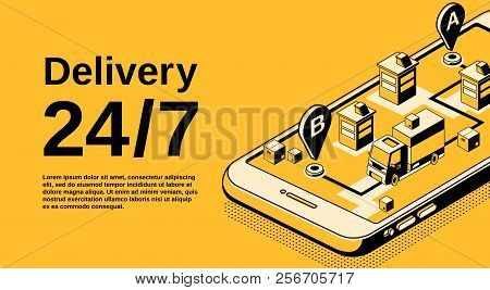 Delivery Service 24 7 Vector Illustration Of Logistics Shipping Tracking Technology. Order Parcel An