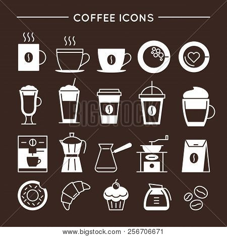 Coffee And Tea Linear Icons Set. Coffee Shop Equipment, Cups And Bakery Symbols. Cafe And Restaurant