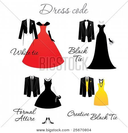 Dress code for the celebrations. Options. Vector.
