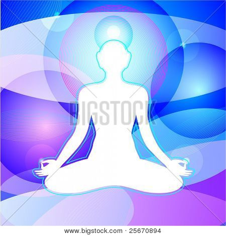 Transcendental Meditation. Meditating yogi in infinite space. Enlightenment. Vector