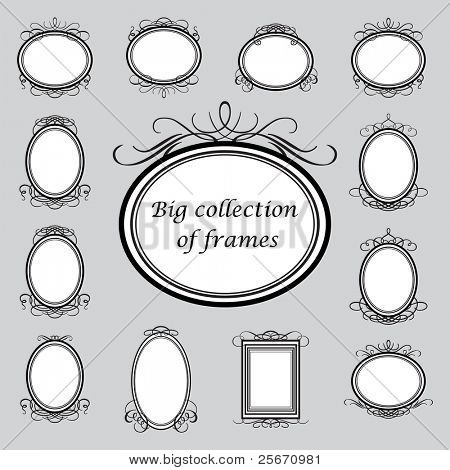 Big collection of of vintage frames. Vector template.