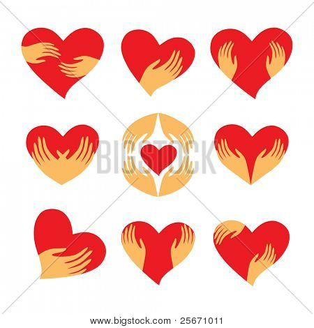 Collection of signs - heart in his hands. Character - love, care, caring, loyalty and support. Vector set.