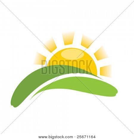 sunrise sun on field