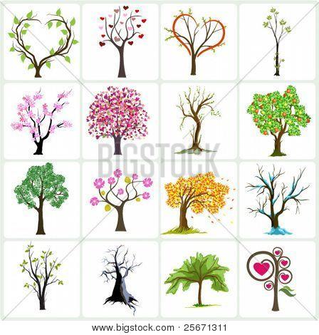 tree vector icons design