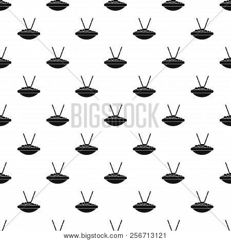 Bowl Of Rice With Chopsticks Pattern. Simple Illustration Of Bowl Of Rice With Chopsticks Pattern Fo