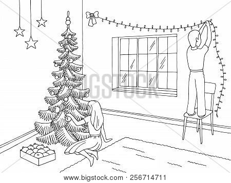 Living Room Graphic Black White Interior Sketch Illustration Vector. Children Decorating The Room An