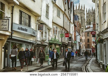 York, England - May 15:  Centre Of City York Full Of People On May 15, 2018 In York