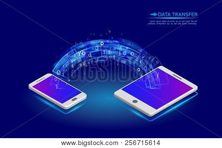 Data Transfer From Smartphone To Tablet. Abstract Virtual Digital Stream. Wireless  Communications C