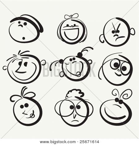 Face icon, happy people cartoon sketch