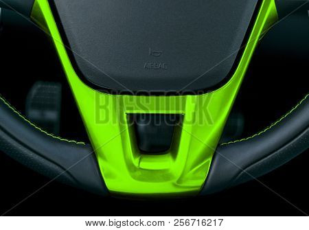 Close Up View Of Steering Wheel With Green Stiching, Black Leather Car Interior Design. Car Interior