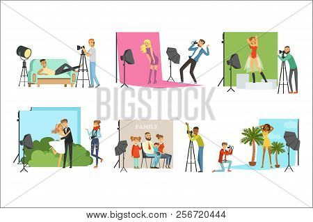 Photographers Taking Pictures Of Different People In Photo Studio With Professional Photographic Equ