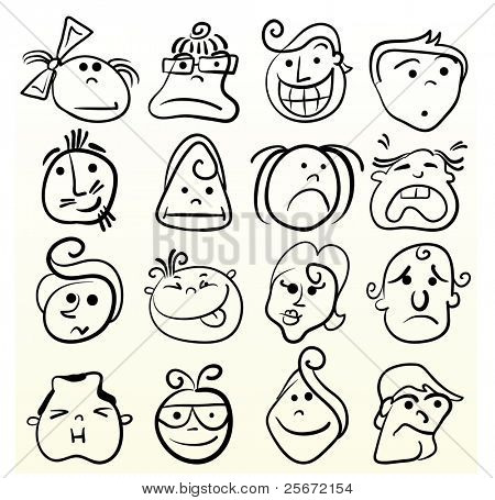 Funny doodle face vector caricature