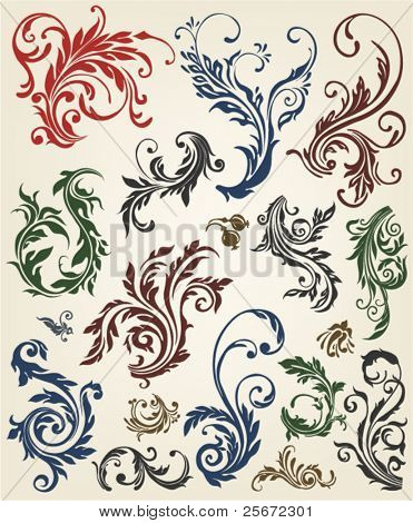 Windung Barock, vector Grunge Blumen