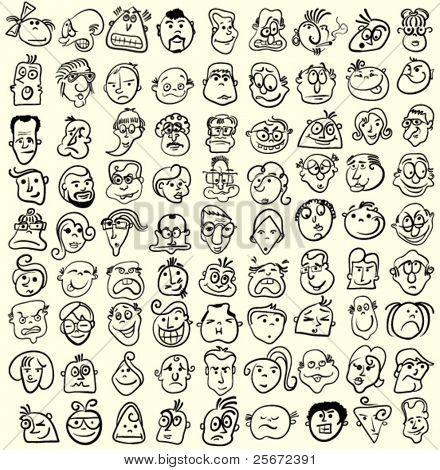Rostos de pessoas, doodle cartoon expressões e emoções, ícones de avatar