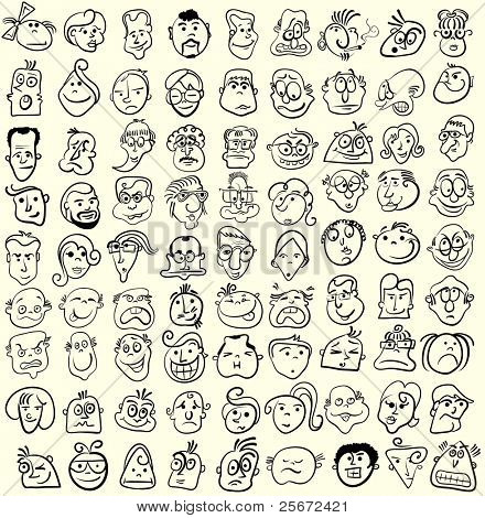 Face caricature cartoon collection. Doodle emotion design poster