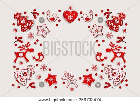 Christmas Frame With Ornament Of Red And White Stylized Nordic Christmas Decorations Elk, Reindeer,