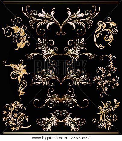 ornament vector elements, vintage gold floral designs
