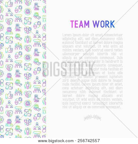 Teamwork concept with thin line icons: group of people, mutual assistance, meeting, handshake, tug-of-war, cooperation, puzzle, team spirit, cooperation. Vector illustration for banner, print media. poster