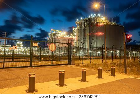 Lng Storage Tanks,terminal Lng At Night, Swinoujscie, Poland