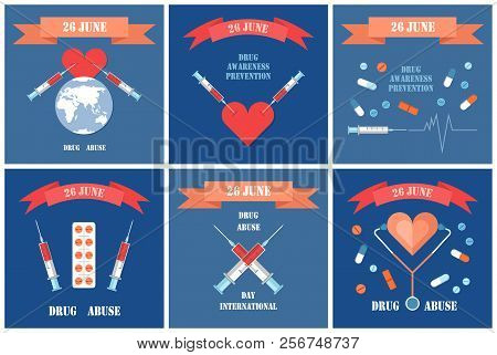 International Day against drug abuse, illegal opiate trade posters set. Syringes in heart, death caused by narcotic addiction, prohibeted pills vector poster