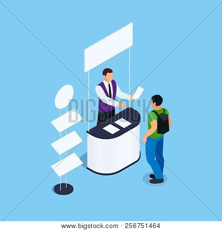 Isometric Promotional Booth With Promoter, Leaflets And Rack For Product. Promotional Stand Witn Sig