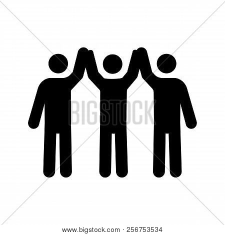 Charity Organization Glyph Icon. Silhouette Symbol. Unity In Diversity. People Holding Hands Up. Tea