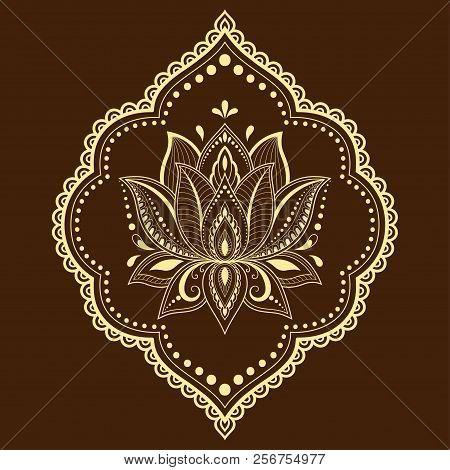 Mehndi Lotus Flower Vector Photo Free Trial Bigstock