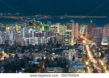 View of residential and office buildings at the wealthy district of Las Condes in Santiago de Chile poster