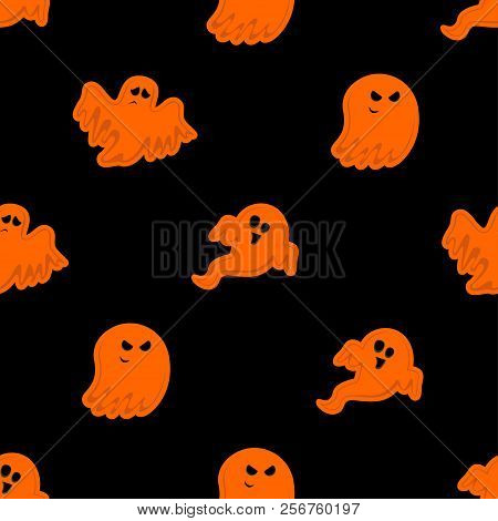 Abstract Seamless Halloween Ghost Pattern For Girls Or Boys. Creative Vector Pattern With Ghost, Clo