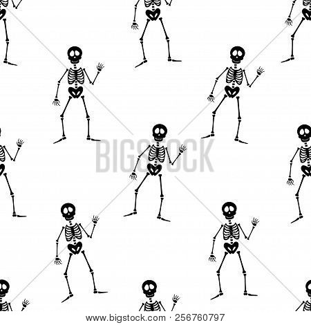 Abstract Seamless Halloweenskeleton Pattern For Girls Or Boys. Creative Vector Pattern With Skeleton
