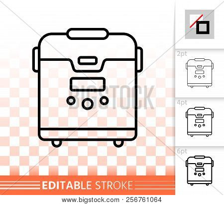 Multicooker thin line icon. Outline web sign of multi. Cooker linear pictogram with different stroke width. Simple vector symbol, transparent background. Multicooker editable stroke icon without fill poster