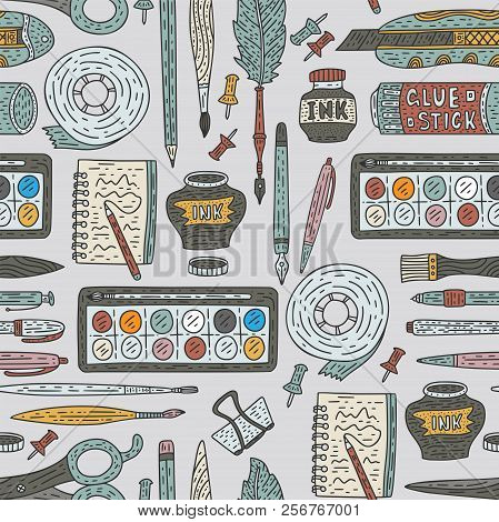 Art Accessories Vector Seamless Pattern. Doodle Color Drawing Supplies For School And Art With Pen,
