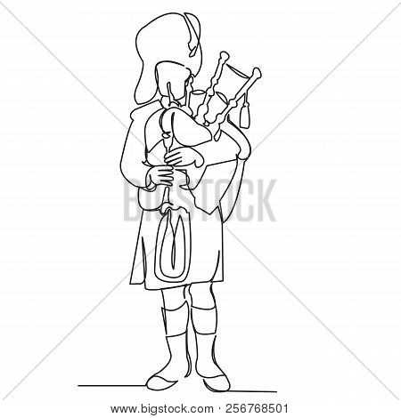Continuous Single Drawn One Line Scotsman In National Costume Plays Bagpipes Hand-drawn Picture Silh