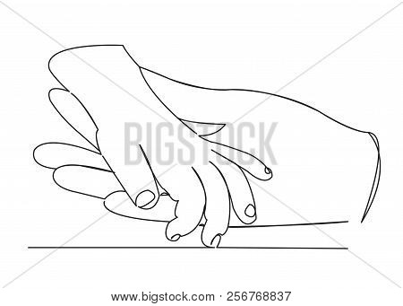 Continuous Single Drawn One Line Of Mom And Baby Hand Palm Hand Drawn Picture Silhouette. Line Art.
