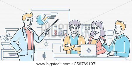 Briefing - Colorful Line Design Style Vector Illustration