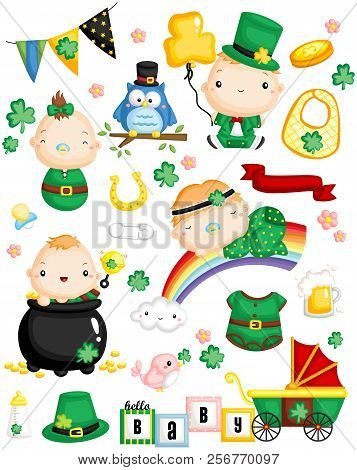 Leprechaun Baby Vector Set With Many Item And Object