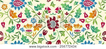 Floral Seamless Horizontal Pattern On Light Background. Vector Illustration With Flowers, Leaves, St