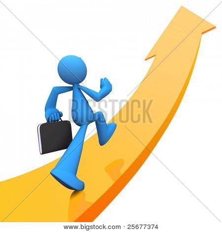 Businessman with tie and handbag going up