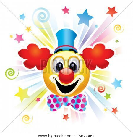 Smiley ball as clown in the circus