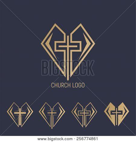Set Logo. Church Logo. Cross With Heart.