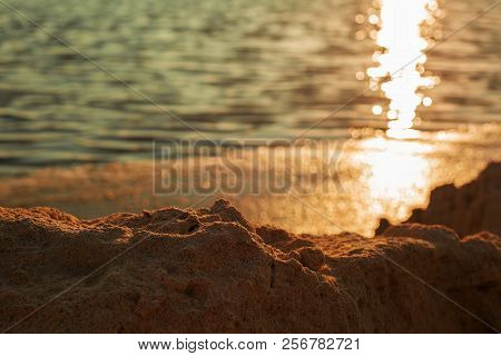 Beautiful Sunset, Sunset And Rocks, Red Sky Over The Sea